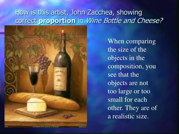 How is this artist, John Zacchea, showing correct