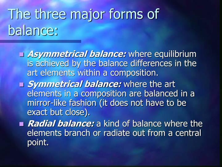 The three major forms of balance: