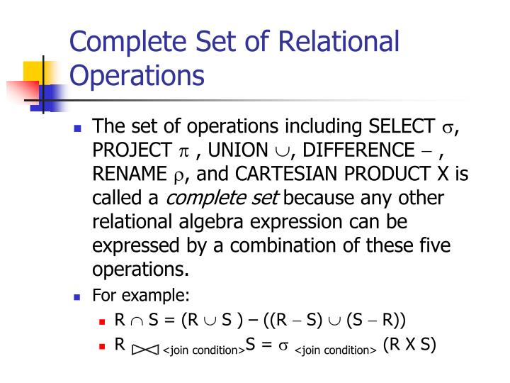 Complete Set of Relational Operations