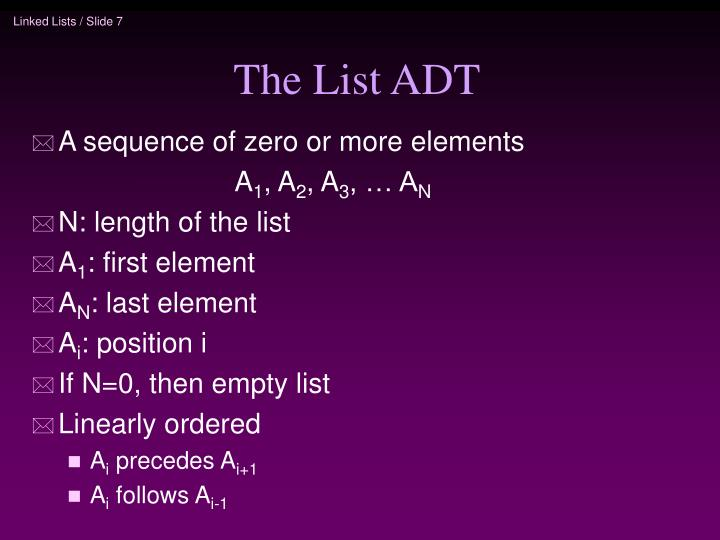The List ADT