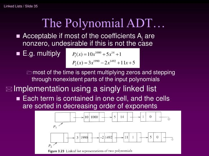 The Polynomial ADT…
