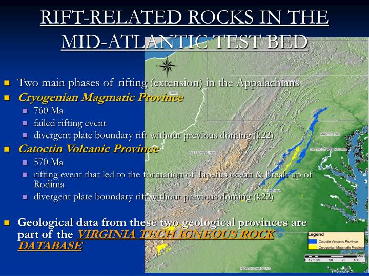 RIFT-RELATED ROCKS IN THE MID-ATLANTIC TEST BED