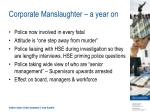 corporate manslaughter a year on