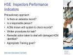 hse inspectors performance indicators