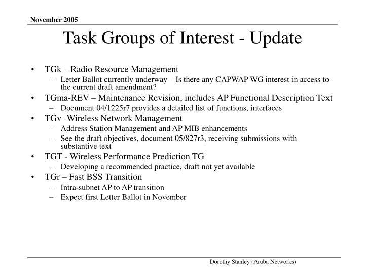 Task groups of interest update