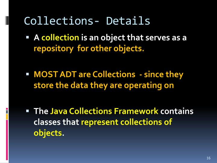 Collections- Details