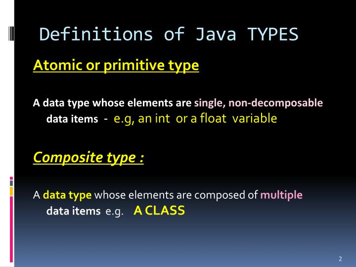 Definitions of java types