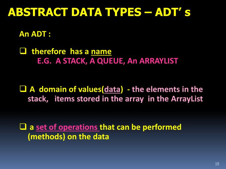 ABSTRACT DATA TYPES – ADT' s