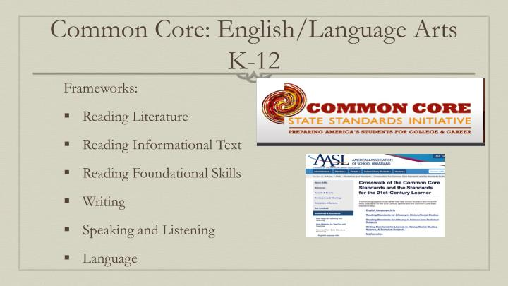 Common Core: English/Language Arts K-12