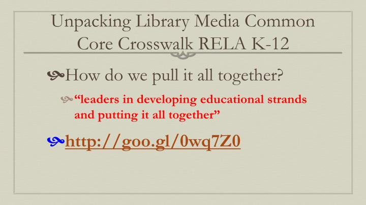 Unpacking Library Media Common Core Crosswalk RELA K-12