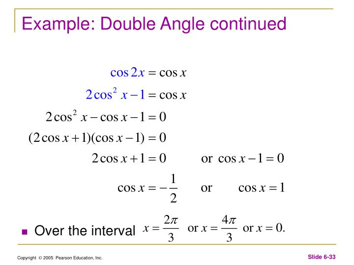 Example: Double Angle continued