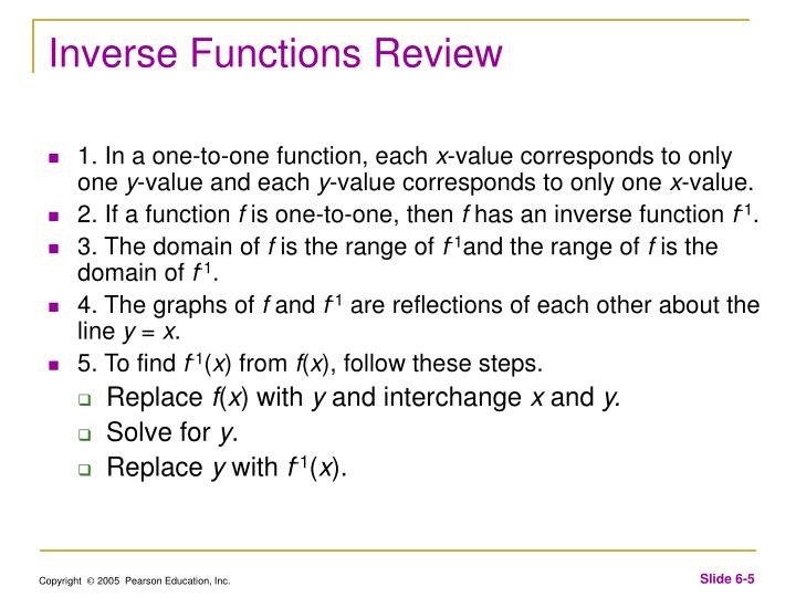 Inverse Functions Review