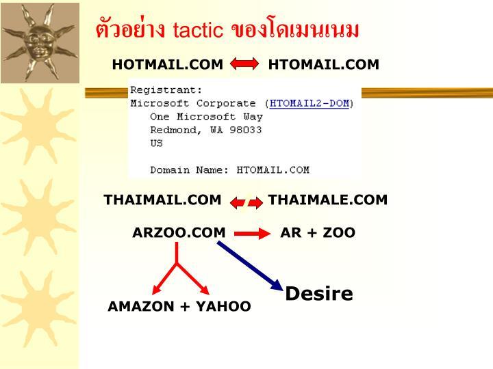 ตัวอย่าง tactic ของโดเมนเนม
