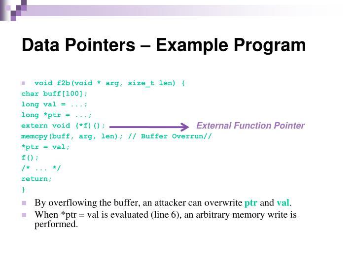 Data Pointers – Example Program