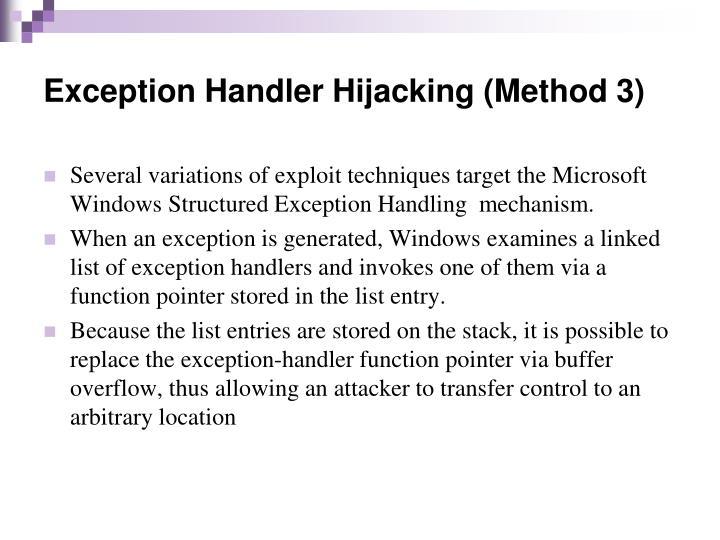 Exception Handler Hijacking (Method 3)