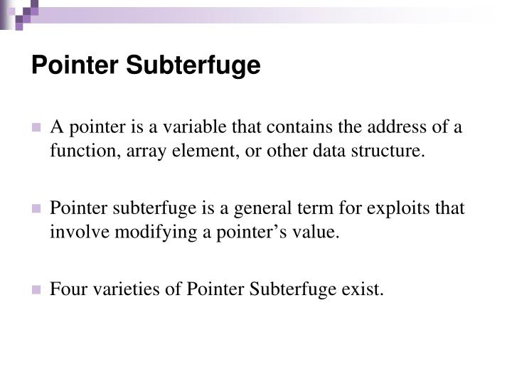 Pointer Subterfuge