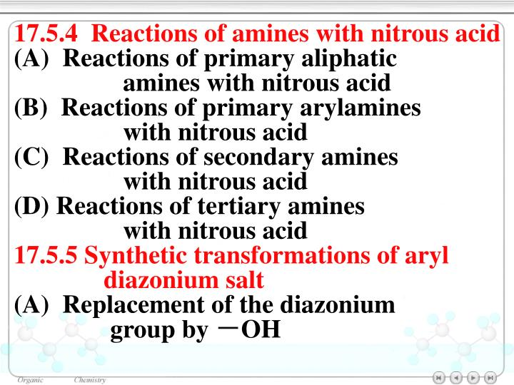 17.5.4  Reactions of amines with nitrous acid