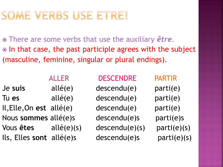 SOME verbs use ETRE!