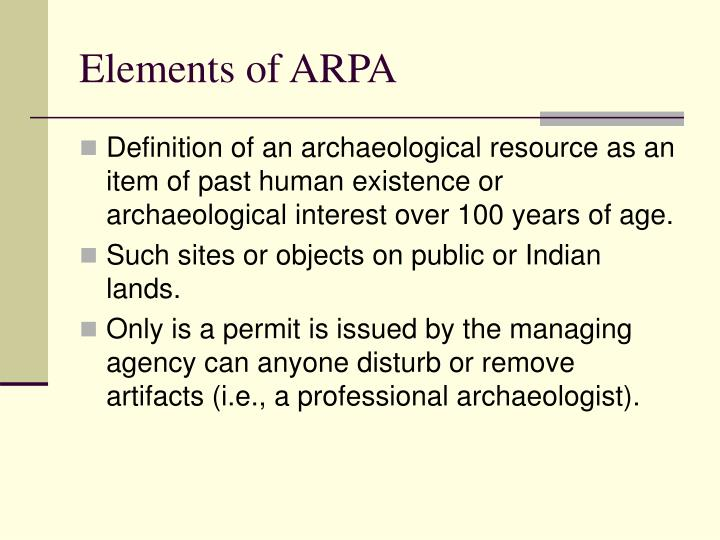 Elements of ARPA