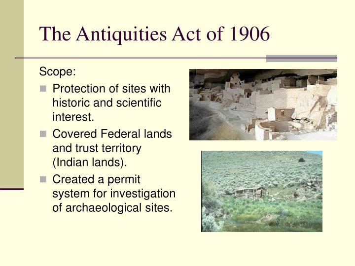 The antiquities act of 1906